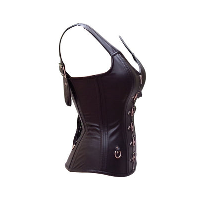 ITTCBRO Steampunk Black Faux Leather Overbust Corset