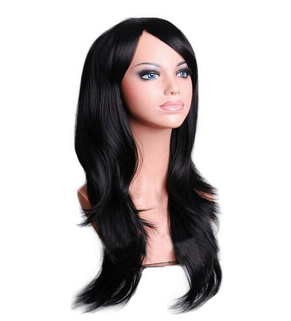 70 Cm Black Long Wavy Cosplay Wig