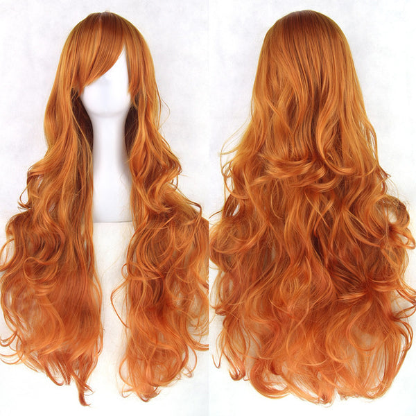 80 cm Ginger Orange Wavy Long Cosplay Wig