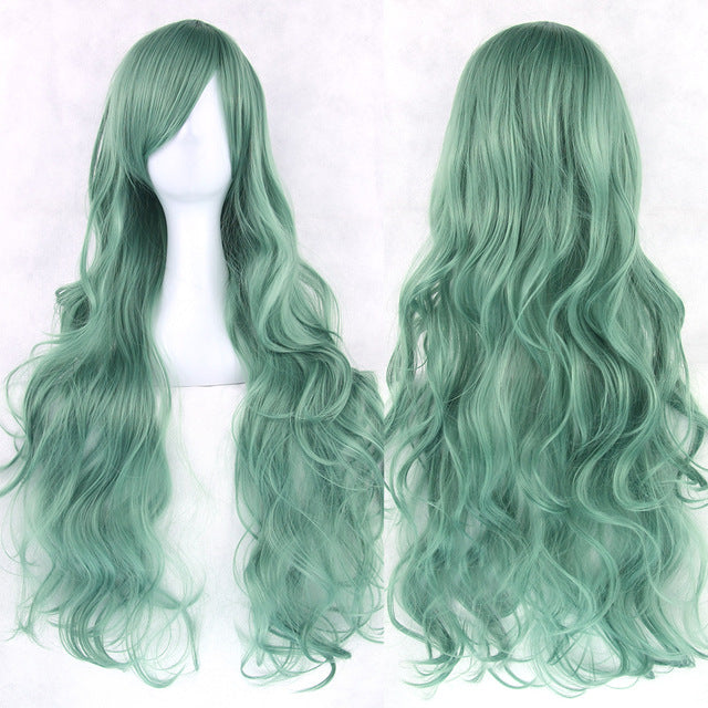 80 cm Sea Green Wavy Long Cosplay Wig