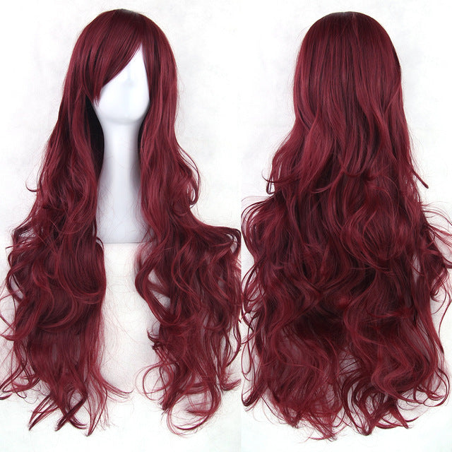 80 cm Wine Red Wavy Long Cosplay Wig