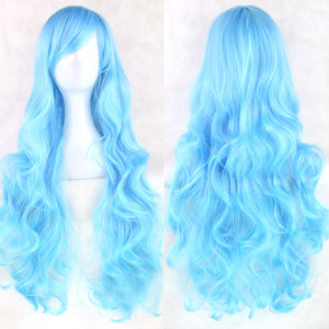 80 cm Arctic Blue Wavy Long Cosplay Wig
