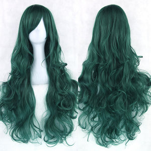80 cm Deep Teal Wavy Long Cosplay Wig