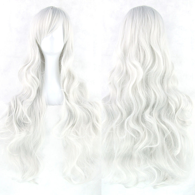 80 cm Silver White Wavy Long Cosplay Wig