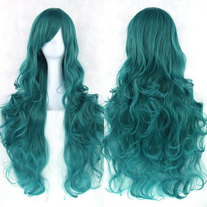 80 cm Ocean Teal Wavy Long Cosplay Wig