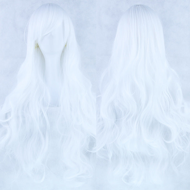 80 cm White Wavy Long Cosplay Wig