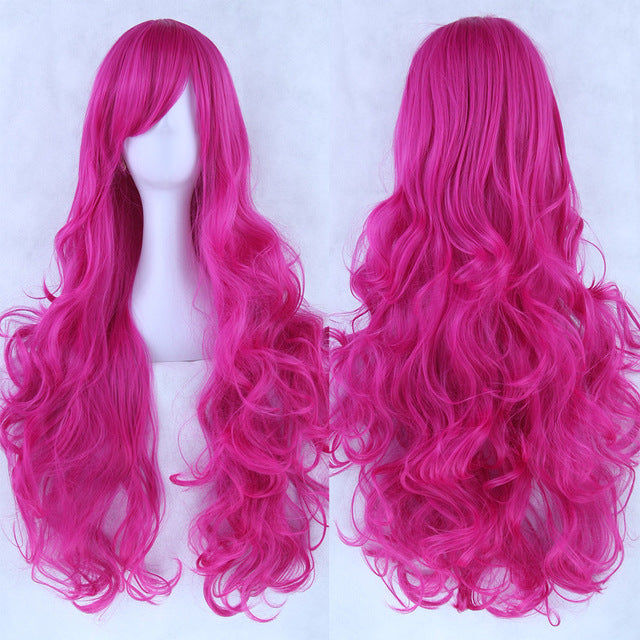 80 cm Magenta Wavy Long Cosplay Wig