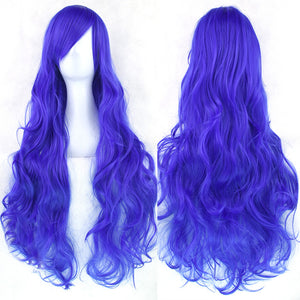 80 cm Cobalt Blue Wavy Long Cosplay Wig
