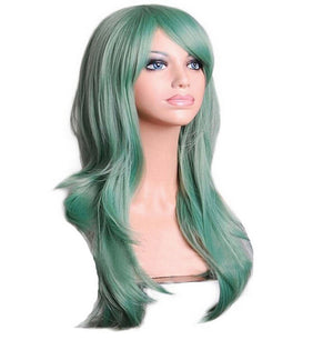 70 Cm Moss Green Long Wavy Cosplay Wig