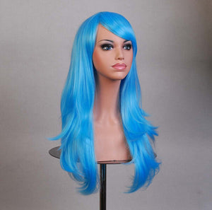70 Cm Long Sky Blue Wavy Cosplay Wig