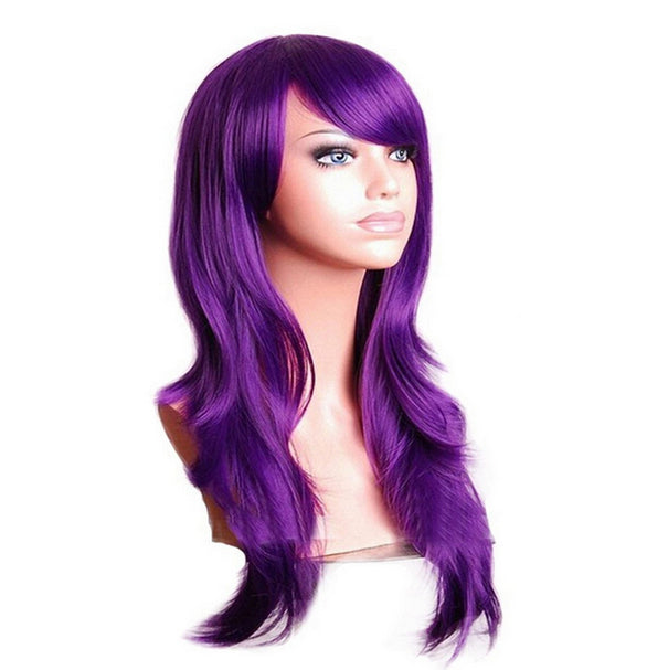 70 Cm Violet Long Wavy Cosplay Wig