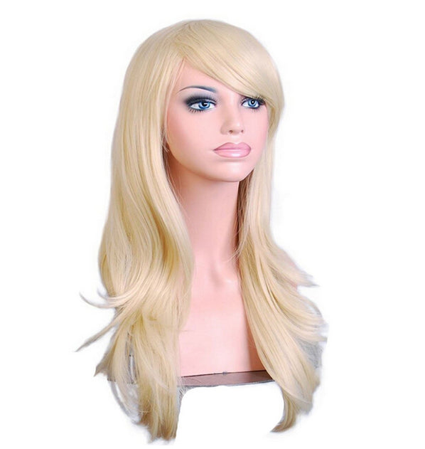 70 Cm Platinum Blond Long Wavy Cosplay Wig