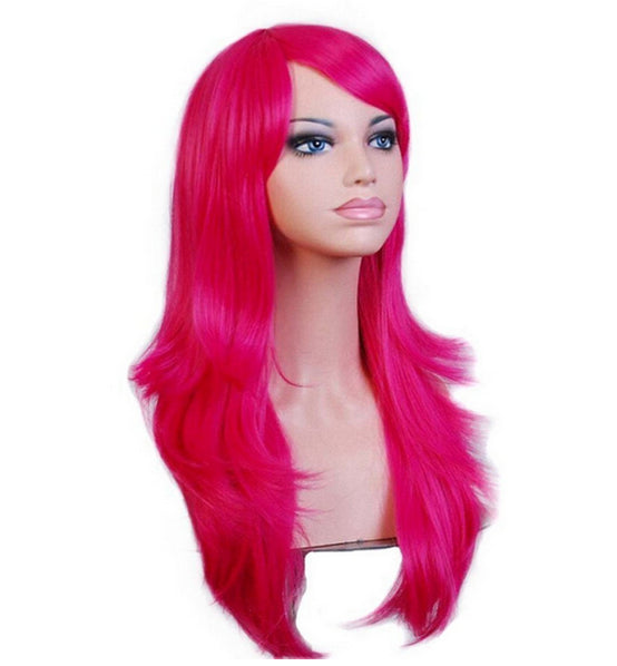 70 Cm Hot Pink Long Wavy Cosplay Wig