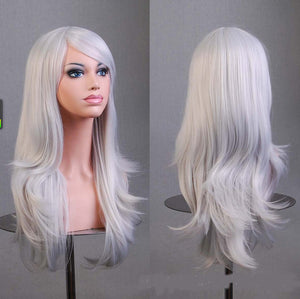 70 Cm Silver Long Wavy Cosplay Wig