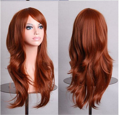 70 Cm Medium Brown Long Wavy Cosplay Wig