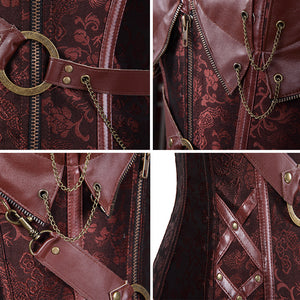 LTTCBRO Steampunk Zip-Up Bustier Corset Top