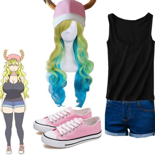 Miss Kobayashi's Dragon Maid Lucoa Costume (With Pink Cap, Wig and Shoes)