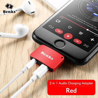 Benks For iPhone 7 8 Plus 2 in 1 Audio Charging Adapter iOS 11 3.5mm Headphone Jack AUX Charger Connector Converter