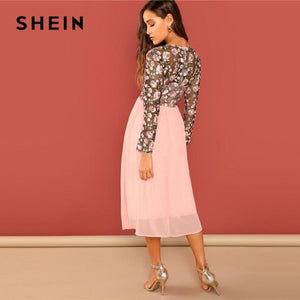 NEW SHEIN Going Out Pink Flower Embroidered Contrast Mesh Bodice Round Neck High Waist Dress Women A-Line Long Elegant  Dresses