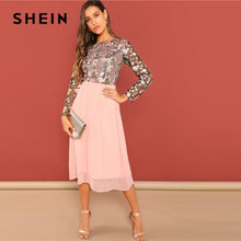 Load image into Gallery viewer, NEW SHEIN Going Out Pink Flower Embroidered Contrast Mesh Bodice Round Neck High Waist Dress Women A-Line Long Elegant  Dresses