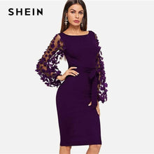 Load image into Gallery viewer, NEW SHEIN Purple Party Elegant Solid Flower Applique Mesh Sleeve Form Fitting Skinny Pencil Dress Autumn Office Lady Women Dresses