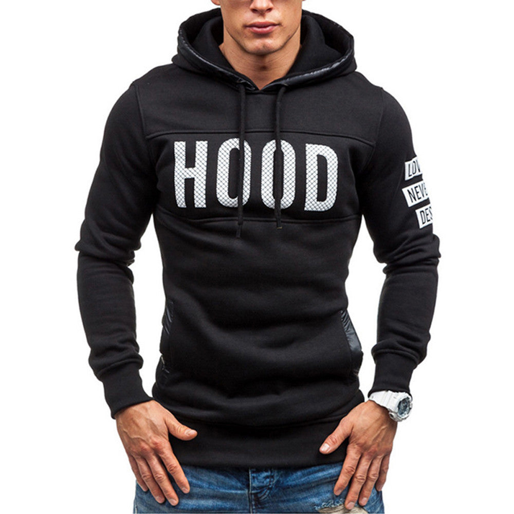 Men Winter Slim Hoodie Warm Pullover Sweatshirt Hooded Coat Outwear Tops