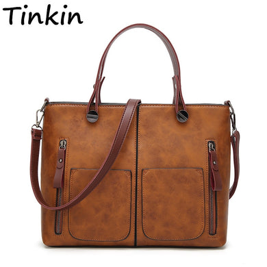 New Tinkin Vintage Women Shoulder Bag Female Causal Totes for Daily Shopping All-Purpose High Quality Dames Handbag
