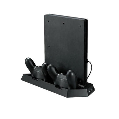 Newest Mutilfunction Cooling Fan Cooler Vertical Stand with Dual Charging Station for PS4 Slim/PlayStation 4 slim Console