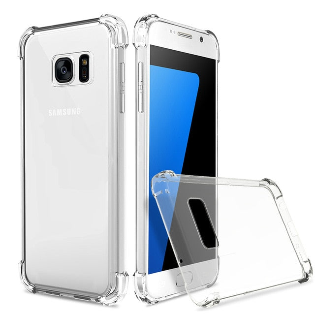 Shockproof Clear Soft Silicone Armor Case for Samsung Galaxy A8 Plus A5 A7 J2 Pro 2018 J3 J5 J7 2017 S6 S7 S8 S9 Plus back cover