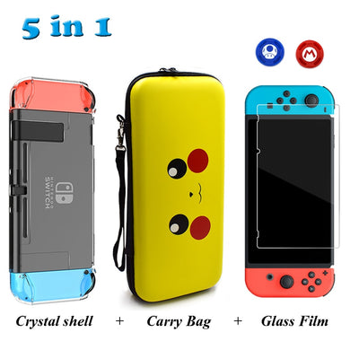 Nintend Switch Accessories Travel Carrying Bag & Tempered Glass Film & Crystal Hard Case & 2 Analog Caps for Nintendo Switch NS