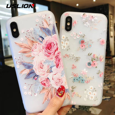 New Flower Silicon Phone Case For iPhone 7 8 Plus XS Max XR Rose Floral Cases For iPhone X 8 7 6 6S Plus 5 SE Soft TPU Cover