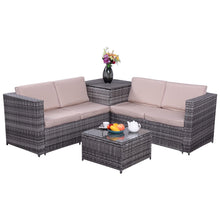 Load image into Gallery viewer, Brand New 4 pcs Rattan Wicker Furniture Set with Storage Box