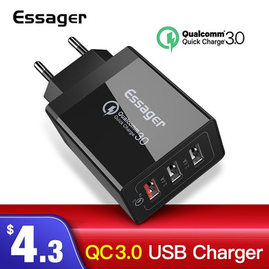 Essager Quick Charge 3.0 USB Charger 30W QC3.0 Fast Charging USB Wall Charger for iPhone Samsung Xiaomi Mobile Phone Charger