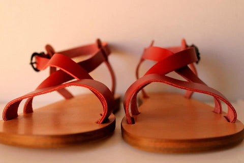 theluto red leather kids sandals