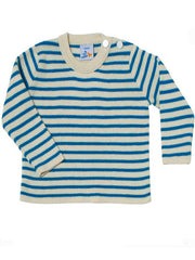 Large Image of Dis Une Couleur Of France Cotton/Cashmere Sweater Cyan
