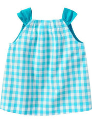 Large Image of Old Navy Gingham Button-Front Top Turquoise