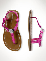 Large Image of Ralph Lauren Pink Metallic Leather Sandal *DIVINE*