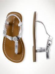 Large Image of Ralph Lauren Silver Metallic Leather Sandal *DIVINE*