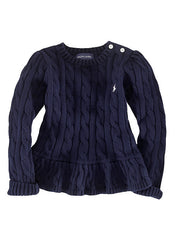 Large Image of Ralph Lauren Peplum Sweater Navy