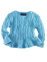 Large Image of Ralph Lauren Peplum Sweater Turquoise