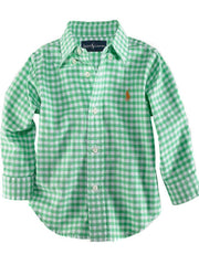 Large Image of Ralph Lauren Gingham Shirt Green