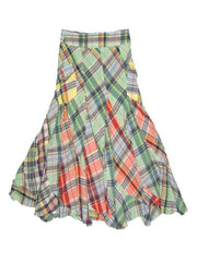 Large Image of Ralph Lauen Girls Long Madras Print Skirt