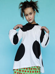 Large Image of BOdeBO of France Tamarina Tunic White/Blk Dots 6-10yrs