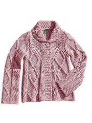 Large Image of United Colors of Benetton Italy Cable Knit Sweater Pink