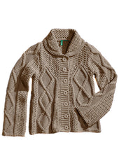 Large Image of United Colors of Benetton Italy Cable Knit Sweater Khaki