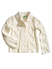 Large Image of United Colors of Benetton Italy Cable Knit Sweater White