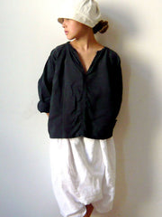 Large Image of VDJ La Blouse 3/4 Sleeve Linen Grey/black