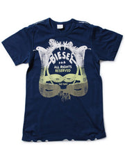 Large Image of Diesel White Logo T Navy