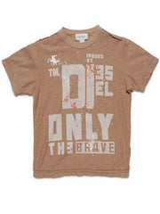 Large Image of Diesel Logo Raw Cut T-Shirt Tan