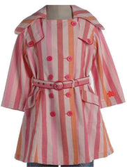 Large Image of OILILY Striped Trench Coat Pink